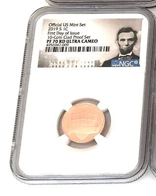 """Pf-70-- 2019-S  Lincoln Head Penny Portrait  """"first Day Of Issue""""  Ultra Cameo"""