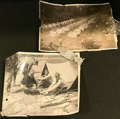 Pair c.1930s WEST POINT 8 x 10 Press Photographs PLEBES AT CAMP SMITH - AS IS
