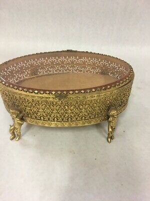 Vintage Jewelry Casket Box Ormolu Filigree Gold Cherubs Large Hollywood Regency
