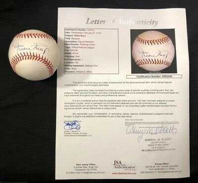 22bf17699 Willie Mays Autographed Signed Official Baseball ONLB Full JSA Letter  Authentic
