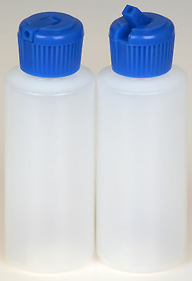 Plastic Bottle w/Blue Turret Lid, 2-oz., 100-Pack, New