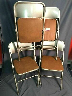 Fabulous Set Of 4 Vintage Samsonite Folding Chairs Metal With White Pdpeps Interior Chair Design Pdpepsorg