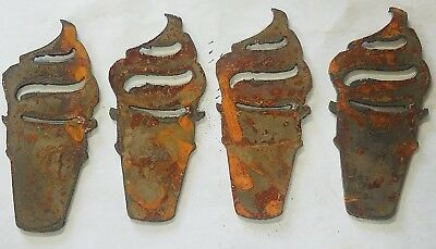"Lot of 4 Ice Cream Cone Shapes 4"" Rusty Metal Vintage Ornament Craft Sign DIY"