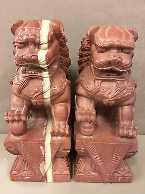 Pair of Large Bloodstone(?) Carved Foo Dog Statues Wealth Lion Feng Shui