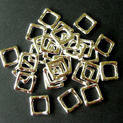 50 SILVER PLATED SQUARE BEAD FRAMES 12 x 12mm FINDINGS
