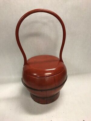Antique Chinese Red Lacquer Basket Food Container Bucket Handle wire Wedding