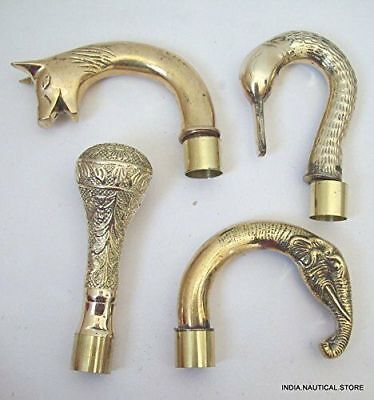 Antique head Brass Victorian Handle Wooden Walking Stick Cane Designer 4 pcs