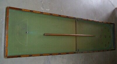 """Large Folding Bagatelle Table 84"""" Long (2.1 Metres) + Cue : Possibly Victorian"""