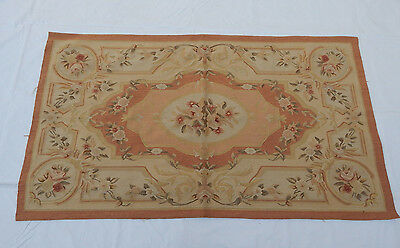 Old Hand Made French Design Original Wool Aubusson Rug 160X90cm (T629)