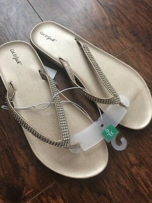 eb637e42987e Cat   Jack Big Girls Gole Rhinestone Flip-flop Sandals Size XL 6 NWT