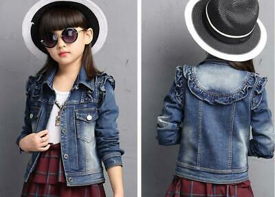 Toddler Girls Kids Ruffle Jean Jacket Denim Tops Cowboy Outfits Casual Coat