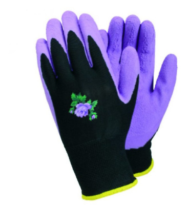 Ladies gardening gloves water repellent lightweight grip latex palm purplerose