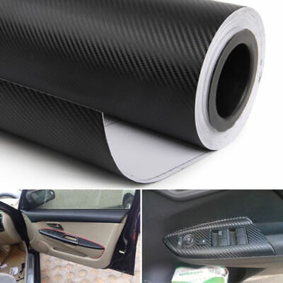 3D Car Interior Accessories Panel Black Carbon Fiber Vinyl Wrap Film Sticker