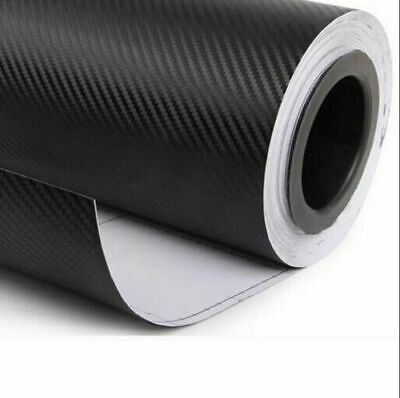 "12""x50"" DIY 3D Black Carbon Fiber Vinyl Car Wrap Sheet Roll Film Sticker Decal"
