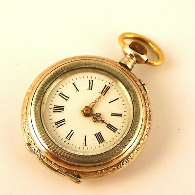 Antique 1900s German Silver and Gold Fob Pocket Watch Needs Work