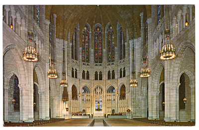 Vintage Postcard The Nave The Riverside Church Riverside Drive New York City J18