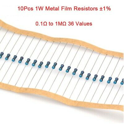 10Pcs 1W Metal Film Resistors ±1% Range of Value 0.1Ω to 1MΩ 36 Values
