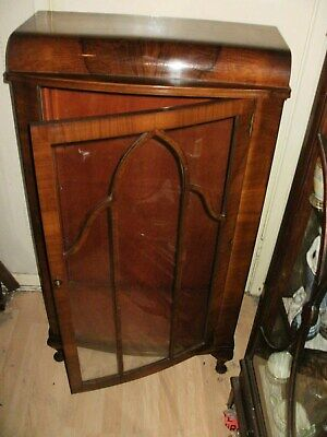 antique single door china cabinet rolled top church mouldings to front 1930s/50s