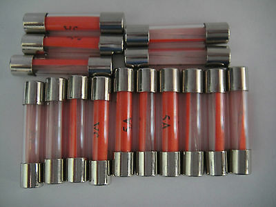 *15 X RED NOS 1¼ inch 5 Amp Classic Car Fuses MGB GT Morris Mini Minor Traveller