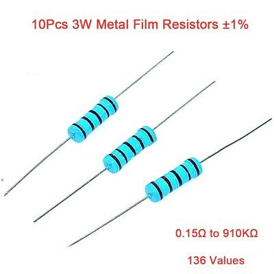 10Pcs 3W Metal Film Resistors ±1% Range of Value 0.15Ω to 910KΩ 136 Values