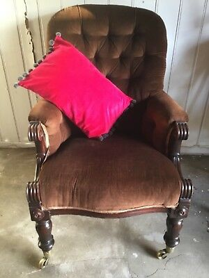 Antique William IV Armchair Carved Mahogany Frame Brown Velvet Upholstery VGC