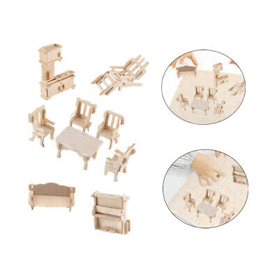 34Pcs/Set Vintage Wooden Furniture Dolls House Miniature Toys Learning Toy Games