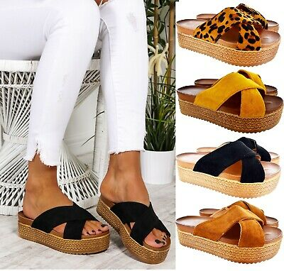 Ladies Womens Platform Chunky Espadrilles Wedge Summer Flatform Sandals Mules
