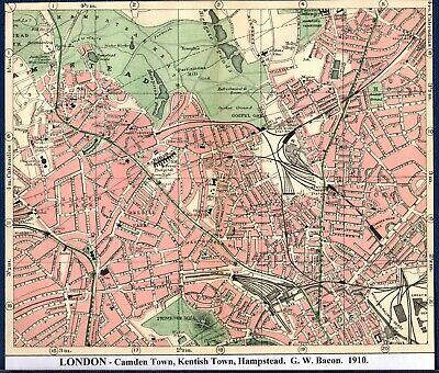 Antique Map ~ LONDON Camden Town HAMPSTEAD Kentish Town ~ G. W. BACON 1910
