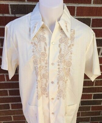 e7aca0c9 VINTAGE PEARL OF THE ORIENT GUAYABERA SHIRT EMBROIDERED FLOWERS 1960's  MEN'S L