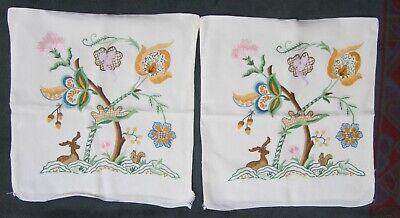 Pair of ART DECO floral embroidered linen cushions covers: squirrel, deer nature
