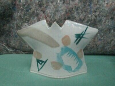 Nice Colorful Mcm Pottery Vessel ~ Vase / Signed ?  Free Shipping