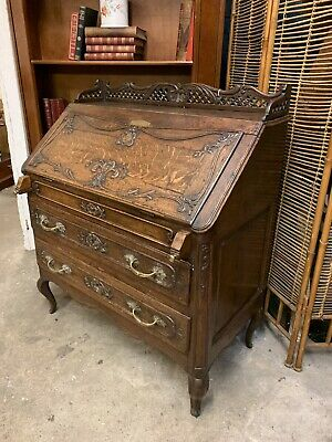 Elegant Antique Carved Oak Slope Fronted Writing Bureau With Drawers