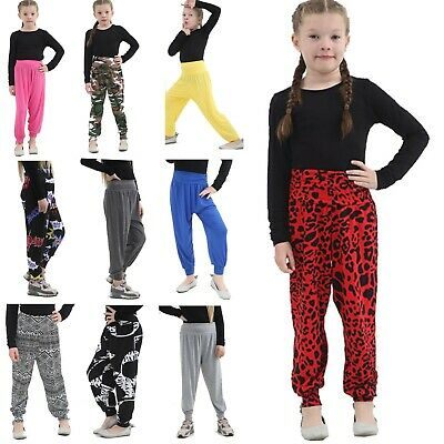 Girls Harem Trousers Ali Baba Long Pants Kids Baggy Printed Leggings Yoga Bottom