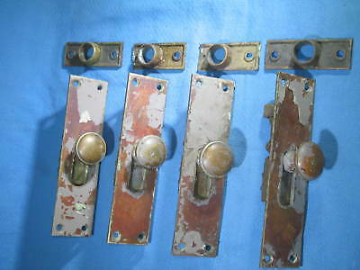 Antique Reading Hardware Brass Flush Slide Door Locks Lot of 4 P1881 USA