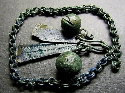 Ancient  Bronze Viking Chain Decoration.Bell.x 2! (MW777).