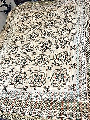 unused old stock Belgium thick woven tapestry large table cloth 180x150 cm