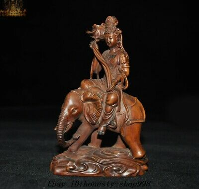 Old Chinese Temple Boxwood Wood Carved Elephant Kwan-yin Guanyin Goddess Statue