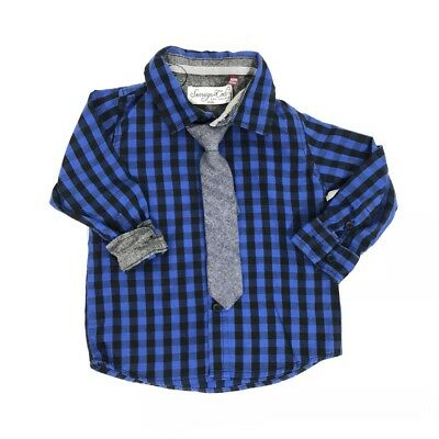 SOVEREIGN CODE LA Kids 18m Shirt Tie 2pc Set Blue Check Button Up Chambray Top