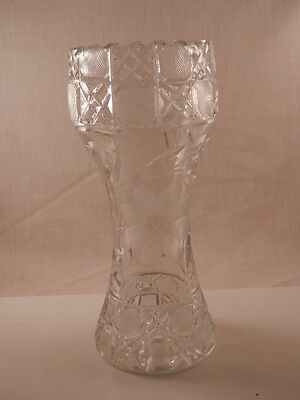 "Vintage Corset Vase Handcut  Crystal  Sawtooth Thick and Heavy 8"" Early 1900's"