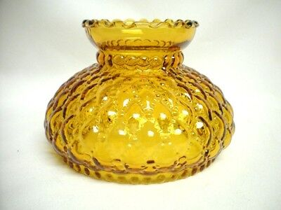 Amber Yellow Diamond Quilted Glass Shade Oil Banquet Parlor Desk Lamp Light Old