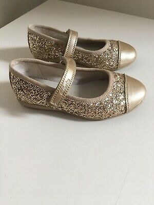 c30eb0d7380 Girls Clarks Gold Patent And Glitter Party Shoes Size 7.5F