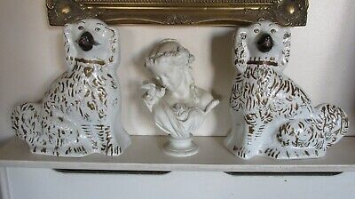 """A Large Pair of Antique 19th Staffordshire Spaniels or Wally Dogs [ 13"""" Tall ]"""