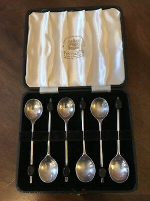 Vintage Retro Boxed set 6 Silver Plated Coffee Bean Sugar Spoons Viners England