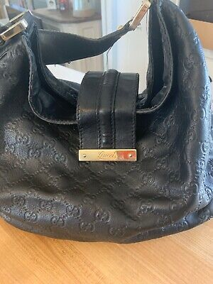 52d0fee38ec97c Authentic Gucci Web Guccissima Large Black Leather Hobo Shoulder Bag Pre- owned