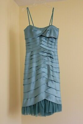 966c392e BCBG MAXAZRIA Tiered Bandage Strapless Cocktail Sheath Dress, Size 4 Teal  Blue