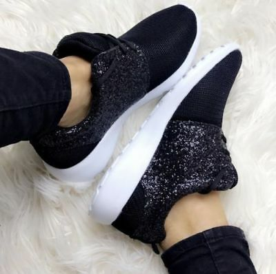 0675870219b4 Ladies Black Glitter Mesh Sparkly Trainers Pumps Casual Shoes Girls Bling