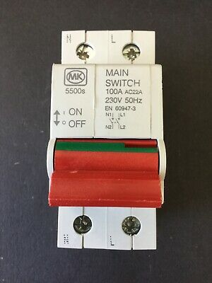 MK 5500s 100A Double Pole Main Switch Isolator - Brand New