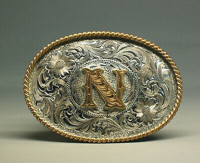 """Montana Silversmiths Initial """"N"""" Engraved Silver & Gold Belt Buckle"""