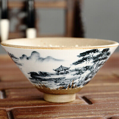 Handcraft Painted Blue-and-White Porcelain Yixing Chinese Zisha KungFu TeaCup x4