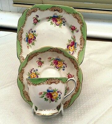 Art Deco Royal Albert Crown China 8527 Trio - Cup+Saucer+Side Plate